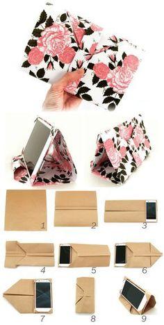 スマホ&タブレットケースの作り方 [折るだけ簡単] Mobile Stand-Case Made of one-… – Origami World Diy Origami, Origami Mobile, Oragami, Diy Organizer, Diy Organization, Garrafa Diy, Pochette Portable, Carton Diy, Tutorial Diy