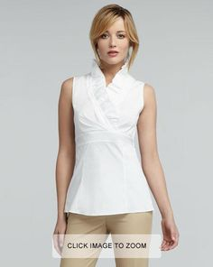 Lafayette 148 New York  Lorelai Ruffled Sleeveless Blouse  $248.00 (it is absolutely insane that a white sleeveless top could cost this much!!!)