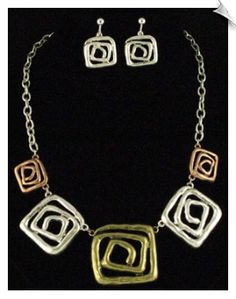 Art Deco Silvertone, Goldtone, Coppertone Necklace with Clip On Earrings $30 @ www.whimzgirlclipearrings.com
