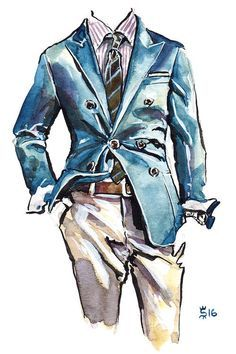 Canvas Art Prints, Canvas Wall Art, Suit Drawing, Topper, Fashion Wall Art, Fashion Sketches, Illustration, Brunello Cucinelli, Men Art