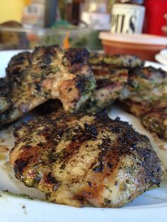 Grilled cilantro chicken thighs I don't feel like eating meat, but sometimes I do. In fact, there was a period not long ago when The Cheeks were meatless for a bit. I've decided it's not the meat t...