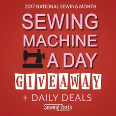 National Sewing Month is here! Throughout September, we are giving away nearly $20,000 worth of sewing machines, and we're featuring exclusive Daily Deals to celebrate the joy of sewing! You must check back to our website each day to enter our Sewing Machine A Day Giveaway. Each day features a different sewing machine with instructions detailing how to earn bonus entries. Be sure to Pin this post!