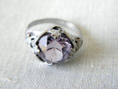 Vintage Pink Rhinestone or Glass Ring Silver Tone by lemonsuncat, $12.99