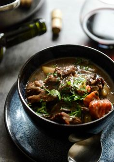 Braised Beef Short Rib Soup is comforting and cozy. This soup features beef short ribs, red wine, mushrooms, vegetables, and Swanson Beef Stock. Try this soup for a filling main-course meal at your next dinner party.
