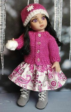 "Snow Paisley A Hand Knit Sweater Hat Skirt for Patsy Ann Estelle 10""Dolls 