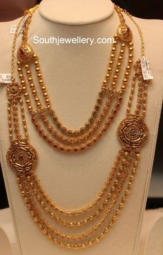 Uncut Gold Balls Necklace and Haram Set