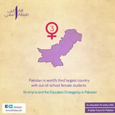 Pakistan is world's third largest country with out-of-school female students.