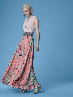 047988d734 Diane Von Furstenberg High-Waisted Draped Maxi Skirt Silk Dress, Boho  Skirts, Maxi