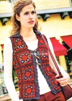 Fabulous Crochet a Little Black Crochet Dress Ideas. Georgeous Crochet a Little Black Crochet Dress Ideas. Crochet Waistcoat, Cardigan Au Crochet, Gilet Crochet, Crochet Vest Pattern, Crochet Boots, Crochet Jacket, Crochet Yarn, Crochet Clothes, Free Pattern