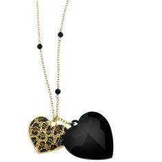 Love can be fierce. GUESS's double heart pendant necklace features a jet epoxy and leopard-printed heart with light Colorado topaz glass. Set in gold tone mixe…