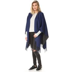 Rag Bone Double Faced Wrap Scarf ($425) ❤ liked on Polyvore featuring accessories, scarves, wrap scarves, navy scarves, wrap shawl, reversible scarves and navy blue scarves