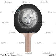 Wolf Moon Ping Pong Paddle  #wolf #whitewolf #fullmoon #dreamcatcher #wolfmoon #zazzle