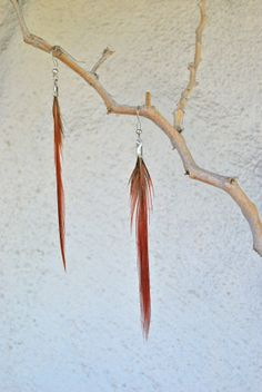 Red and Tiger Striped Pheasant Earrings  Style 048 by jessamurph, $18.00