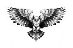 Owl Grand Duke in flight - Drawing in pencil and ink - Tattoo project for a back - Hada Tattoo Artwo Tribal Owl Tattoos, Mens Owl Tattoo, Geometric Owl Tattoo, Eagle Tattoos, Black Tattoos, Filipino Tribal Tattoos, Owl Tattoo Drawings, Tattoo Artwork, Tattoo Sketches
