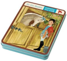 Mudpuppy at the Stable Magnetic Figures by Mudpuppy. $12.43. Magnets adhere to the tin for compact, portable fun. CE, ASTM and CPSIA tested for safety. 2 two-sided cards provide 4 background images. 3 sheets of magnets include doll, clothes, and accessories. Printed with non-toxic inks. From the Manufacturer                The magnetic version of Paper Dolls. Sara Ruano has illustrated equestriennes and their riding habits for Mudpuppy's At the Stable Magnetic Fi...