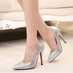 2014 Club Heels shoes women cusp silver golden Pumps for wedding party $33.60