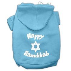 Happy Hanukkah Screen Print Pet Hoodies Baby Blue Size Med (12)