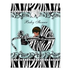 African American Baby Shower Zebra Boy or Girl Personalized Invites