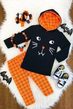Black Cat Orange Plaid Hoodie Set | Sparkle In Pink Kids Boutique, Boutique Clothing, Plaid Hoodie, Cute Cat Face, Orange Leggings, Holiday Outfits, Fun Prints, Festival Fashion, Outfit Sets