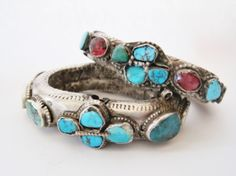 Saudi Turquoise and Silver Bracelets from the Najd region.  Absolutely spectacular and rare.  From the collection of Nada on Ethnic Jewels.