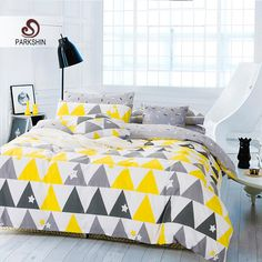 ParkShin Nordic Style Bedding Sets 100% Cotton Duvet Cover Set Yellow/Gray Triangle Bed Sheet Elegant Bed Linen 4pcs Queen King