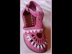 zapato tejido en crochet mod. Yami - YouTube
