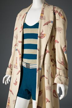 McGregor man's beach robe with swim suit   Beach robe, c. 1935-40