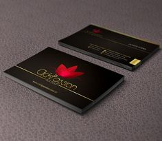 Stylish boutique business cards with sensitive colors, designed by Layerss for ClickPassion Boutique.