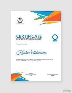 Sports Day Appreciation Certificate Template #AD, , #AFFILIATE, #Day, #Sports, #Appreciation, #Template, #Certificate Preschool Certificates, Certificate Design Template, Sports Day, Word Doc, Website Template, Microsoft Word, Appreciation, Adobe Photoshop, A4