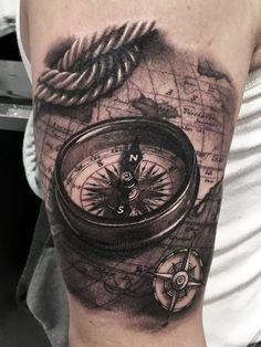 Artisticly Rich Compass Tattoo Designs (2)