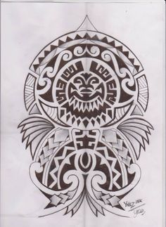 Black And Grey Ink Polynesian Tattoos Design