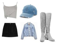 """""""you know what they say? well they say lifes a bi$ch"""" by jasmine-quarry ❤ liked on Polyvore featuring Boohoo, rag & bone, Mudd, Halston Heritage, Levi's, skirt, croptop, distresseddenim and thighhighs"""