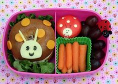 What a fabulously adorable critter filled bento lunch! Bento Box Lunch, Lunch Snacks, Cute Food, Good Food, Ladybug Picnic, Kids Food Crafts, Boite A Lunch, Food Humor, Kid Friendly Meals