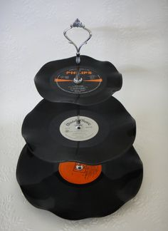 3 Tier Cup Cake Stand Vintage Retro Vinyl Record by myEroom, $20.00