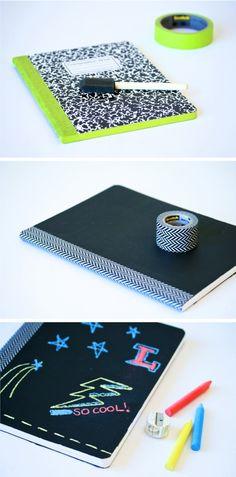 DIY Chalkboard Composition Notebooks with Scotch brand herringbone washi tape + colored chalk {PagingSupermom}