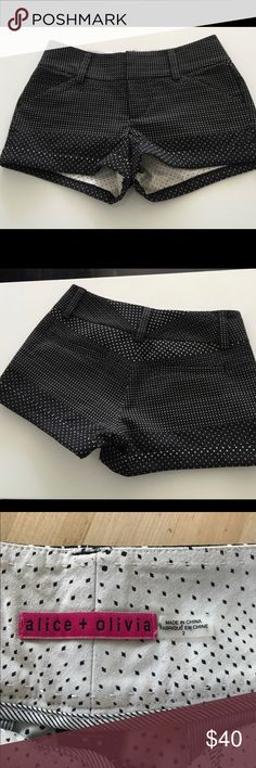 Alice & Olivia Polka Dot Shorts Alice & Olivia black with white polka dots shorts.  Size is a 2 but they fit more like a 4.  63% polyester 35% cotton 2% elastane.  These shorts are in great condition. They've only been worn a handful of times (like maybe 5 times). Alice + Olivia Shorts