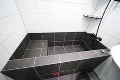 Concrete Bathtub, Bathtub Tile, Narrow Bathroom, Upstairs Bathrooms, Bathroom Renos, Bathroom Layout, Tiny House Bathtub, Contemporary Bathtubs, Warehouse Living