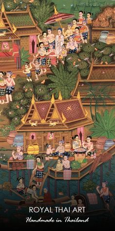 Traditional Thai folk art, Oriental folk art painting, Asian folk art designs paintings, and Custom canvas folk art for sale by famous folk artists painters Thai Pattern, Mickey Mouse Wallpaper, Art Paintings For Sale, Art For Sale Online, Thai Art, Buddha Art, Asian Decor, Painting Wallpaper, Custom Canvas