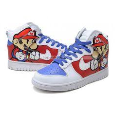 d73dbea7613e Cool High Tops Nikes Dunks Adidas Converse Cartoon Shoes Super Paper Mario High  Tops Nike Dunks Shoes - Awesome Paper Mario shoes they are!