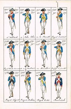 Planche 9 - Uniformes des Régiments d'Infanterie en 1786, avec leur nom et leur numérotation en 1791. Reconstitution contemporaine sur neuf feuilles donnant 108 costumes - MAS Estampes Anciennes - Antique Prints since 1898