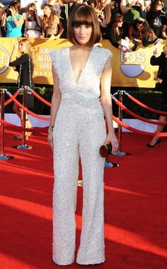 Rose Byrne at the 2012 SAG Awards in an Elie Saab jumpsuit, Chanel Baroque jewelry with a Jimmy Choo clutch