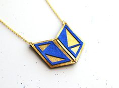 Handmade leather geometric necklace in gold and electric blue / N14 on Etsy, $25.40