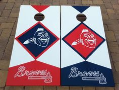 Atlanta Braves cornhole set complete with two boards by GaCornhole, $200.00