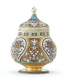 A Russian gilded silver and cloisonné enamel tea caddy, Moscow, 1895 | Lot | Sotheby's