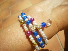 Bracelet perles fil à mémoire de forme plusieurs tours,perles en verre, perles…