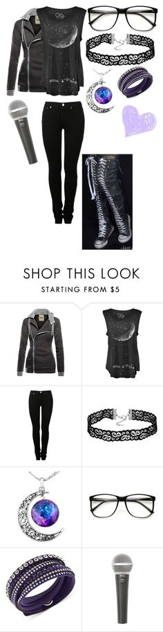 """""""Rock Concert Outfit #2"""" by mimi-minecrafter on Polyvore featuring MM6 Maison Margiela, ZeroUV, Swarovski, Galaxy Audio and Converse"""