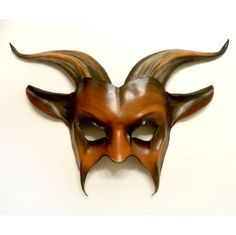 Leather Goat Mask in Brown with Black and Tan by teonova on Etsy