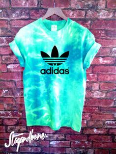 Stag & Bone Custom Dyed Authentic Adidas Originals Tie Dye Teal Tee | $26.99 at stagandboneapparel.bigcartel.com