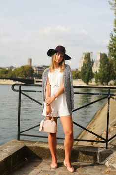 Angy's tea room blog- wearing white cool playsuit with lace inserts and burgundy hat, Louis Vuitton alma bag and pink falt ballerinas. Paris streetstyle