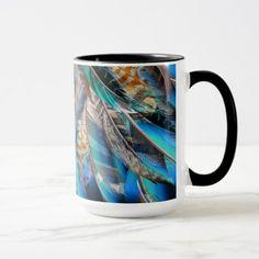 #trendy - #Fashion pattern with blue feathers. Trendy design Mug